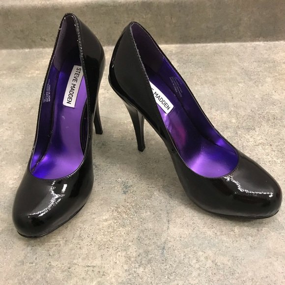 efb030d67d Steve Madden Shoes | Black Leather Shiny Heels Pumps | Poshmark